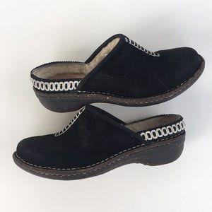 Ugg Black Fur Lined Clogs